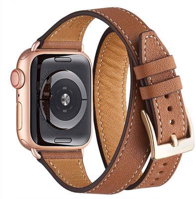 pulsera de cuero marrón apple watch